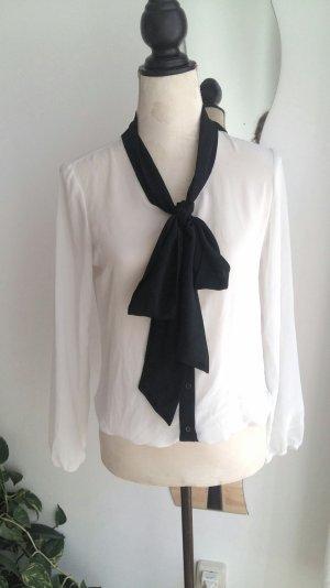 Amisu Blouse avec noeuds blanc-noir