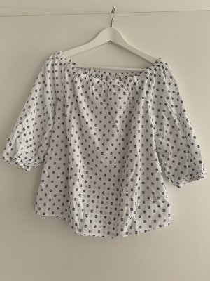 H&M Carmen blouse wit-donkerblauw