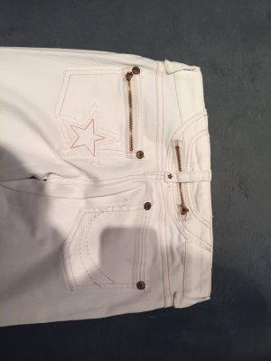 weiße Skinny Jeans mit Reißverschluss und Stern
