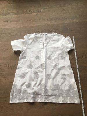 Tunique-blouse blanc-gris clair coton