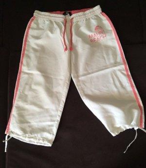 Pantalon 3/4 blanc-rose