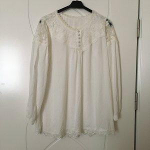 Empiècement de blouses blanc-blanc cassé
