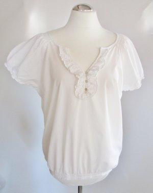 Weiße Spitzen Bluse MEXX Größe L 42 Rüschen Kurzarm Tunika Top Weiß Luftig Lagenlook Lochstickerei