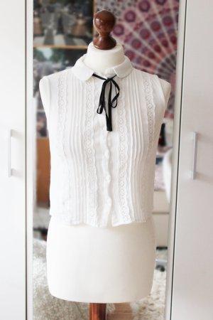 Weiße Spitzen Bluse zum schnüren H&M 36 S cropped schick Preppy