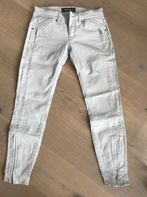Weiße/Steingraue Drykorn Jeans mit angedeuteter Lederoptik