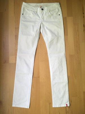 Weiße Stoffhose Five Pocket Slim gerader Schnitt