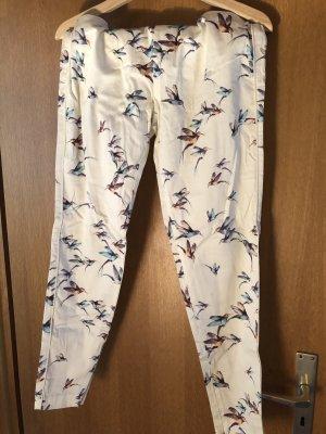 Weiße Stoffhose mit Kolibris von Zara