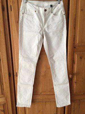 Weiße Stretch Hose gerade Form