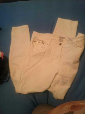 weiße Stretch Jeans mit goldenen details
