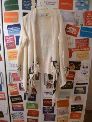 Weiße Strickjacke von ONLY mit Fransen, Indianer, Poncho, Cardigan, Blogger, Ethno, Boho, Oversize
