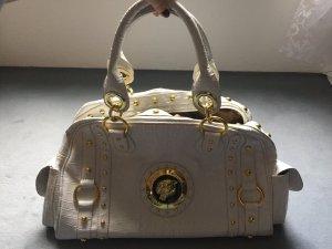 weiße Tasche mit gold Verzierungen