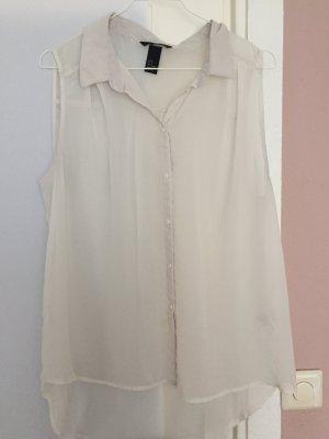 Weiße transparente Bluse ärmellos