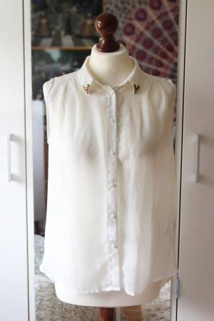 Weiße transparente Bluse mit Nietenkragen H&M 36 38 S