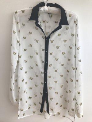 Weiße transparente Bluse mit Tigern und Nietenknöpfen