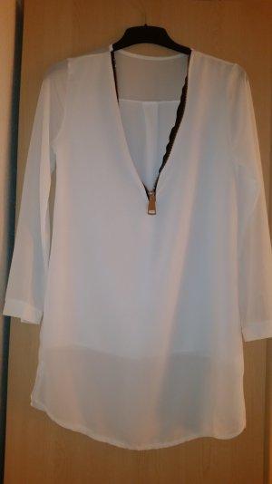 Weiße transparente Long-Bluse mit silbernem Reißverschluss
