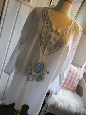 Oversized Blouse white-turquoise cotton