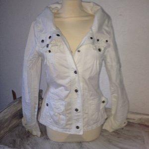 Weiße Übergangsjacke Jeans Kragen