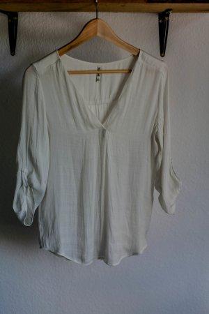 Weiße V-Ausschnitt-Bluse