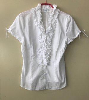 weiße van Laack Kurzarm-Bluse mit Rüschen und Schleifchen