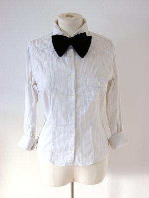 Weiße vintage Bluse, elegante Bluse mit Nadelstreifen, preppy blogger