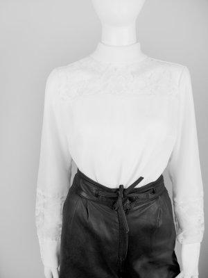 Weiße Vintage Bluse mit Spitzenbesatz