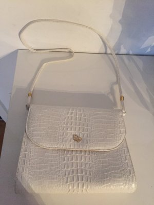 Weiße Vintage Christian Dior Handtasche Leder