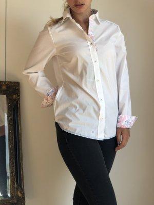 weiße Walbusch Bluse mit Blumen