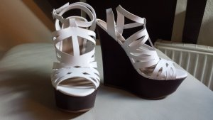 JustFab Platform High-Heeled Sandal white-dark brown synthetic material
