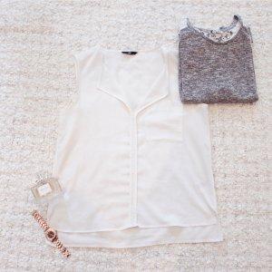 Weiße Weste | Hauchzarte weiße ärmellose Bluse