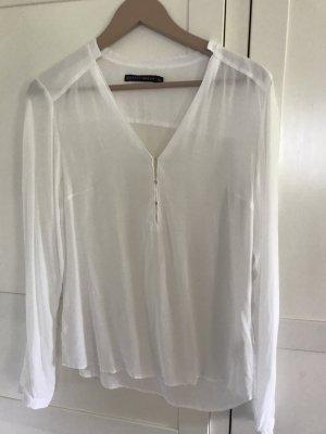 Weiße ZARA Bluse mit V-ausschnitt