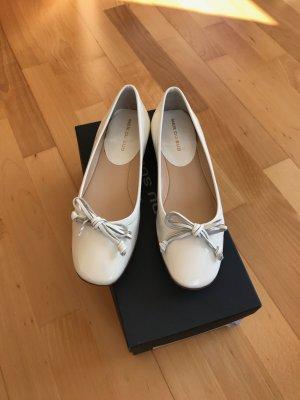 Mer du sud Ballerina di pelle verniciata bianco Pelle