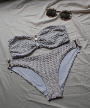 Weißer Bandeau bikini mit Hose