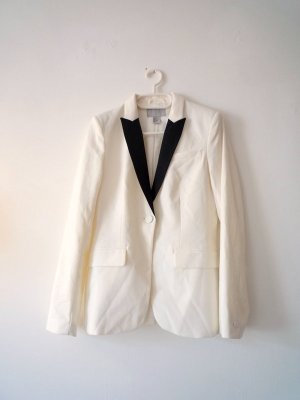 Weißer Blazer, klassischer *Boyfriend-Stil*, schwarze Revers, H&M