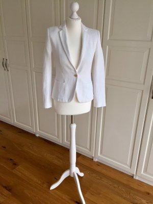 Weißer Blazer mit gewebtem Muster S Zara