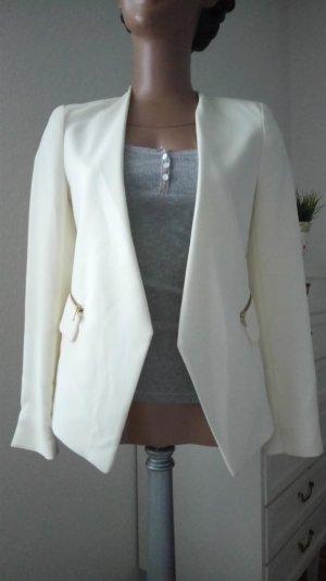 Weißer Blazer mit modischen Reißverschlüssen von Zara Gr.XS (34)