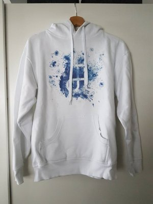 "Weißer ""Circle Of Alchemists"" Hoodie mit blauem Glyphe / Spreadshirt"