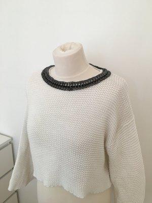 weißer Crop Pullover mit Applikation