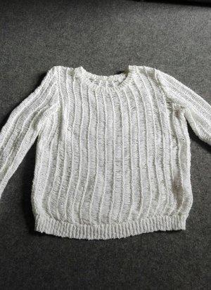 Weißer grobmaschiger Pullover