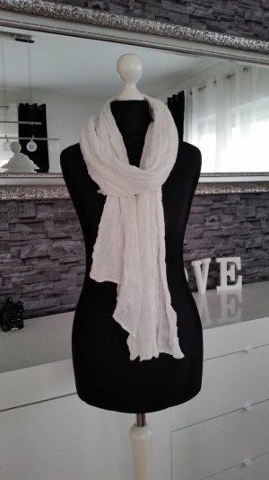 Weißer H&M Schal in Knitteroptik
