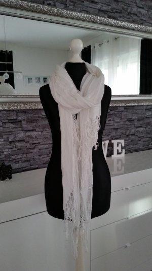 Weißer H&M Schal mit Fransen