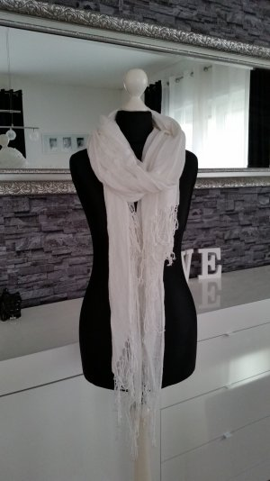 H&M Fringed Scarf white