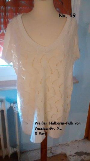 Weißer Halbarm-Pulli von Yessica Gr. XL
