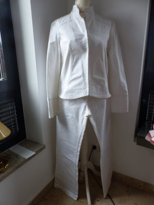 weißer Jeanshosenanzug / Jeans-Kombination aus Hose und Jacke von Clasen