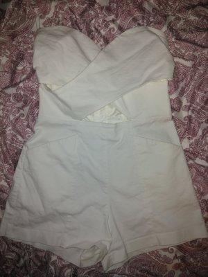 Weißer Jumpsuit mit cutout und Taschen