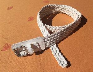 Weißer Ledergürtel geflochten, Länge: 97cm, NEU