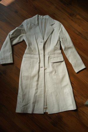 weißer Ledermantel/Mantel