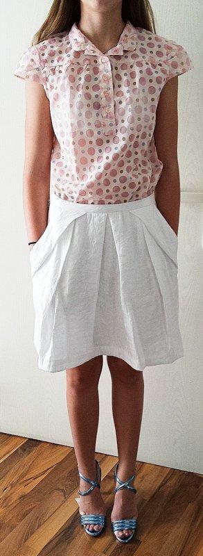 H&M Jupe évasée blanc tissu mixte