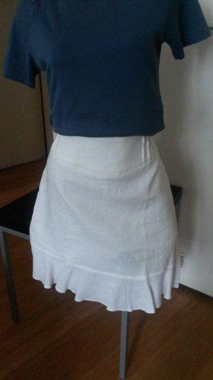 Weißer Leinenrock mit Volant, von Orsay, Gr. 42, - NEU -