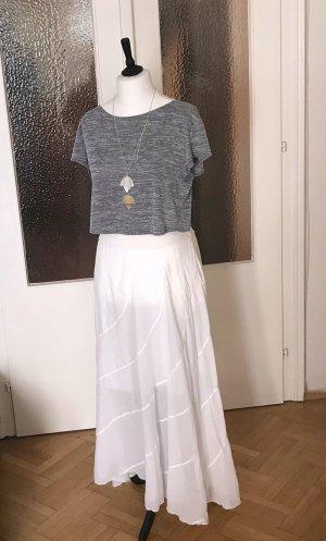 European Culture Falda larga blanco tejido mezclado