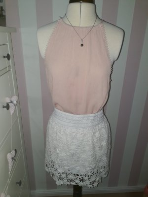 weißer Minirock Gr. M, puderfarbenes Top Gr. M, Boho Rock, Ibiza Outfit